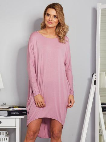 Sukienka oversize z dłuższym tyłem liliowa