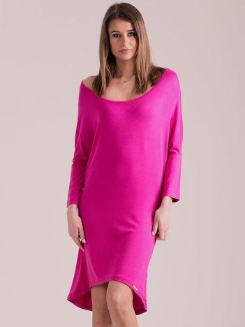 Sukienka oversize z obniżoną linią ramion ciemnoróżowa