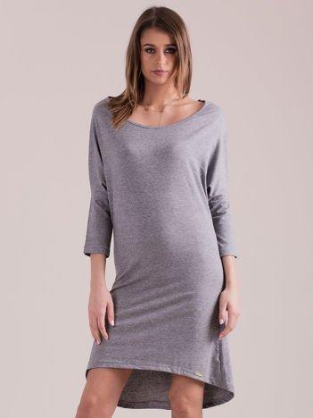 Sukienka oversize z obniżoną linią ramion szara