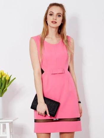 Sukienka różowa z transparentnymi wstawkami