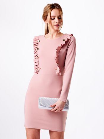 Sukienka różowa ze złotymi guzikami i falbankami