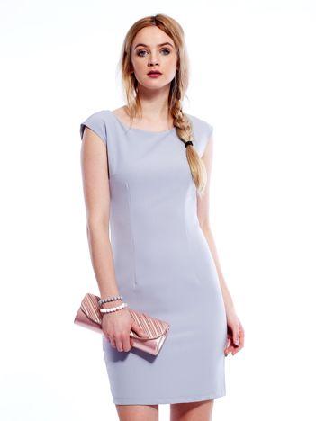 Sukienka szara z wiązaniem z tyłu PLUS SIZE