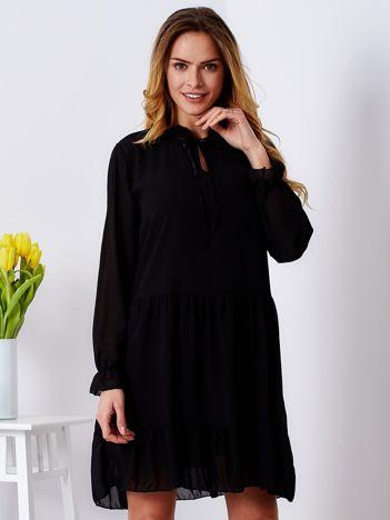 Sukienka szyfonowa czarna z wiązaniem