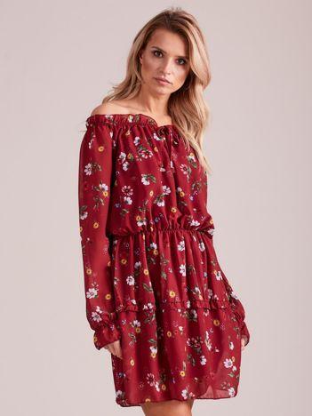 Sukienka w kwiaty bordowa