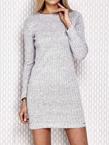 Sukienka w prążek jasnoszara