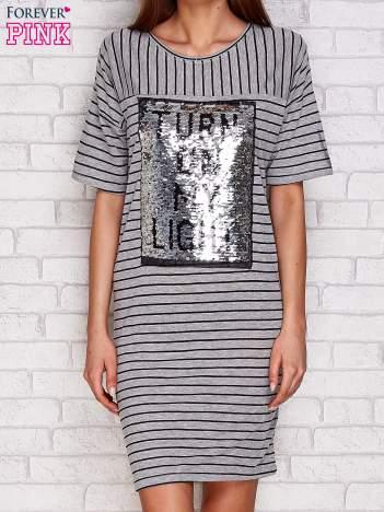Sukienka z dwustronnym cekinowym napisem szara
