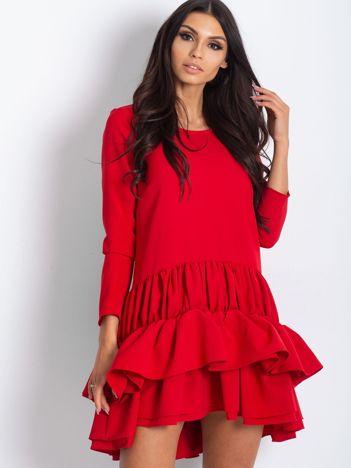 Sukienka z falbankami czerwona