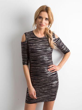 Sukienka z metalicznym nadrukiem