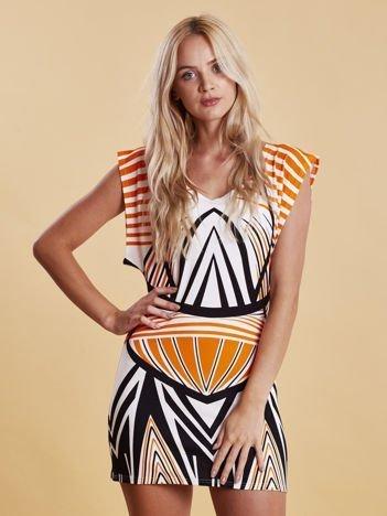 Sukienka z nadrukiem i wycięciem na plecach pomarańczowa