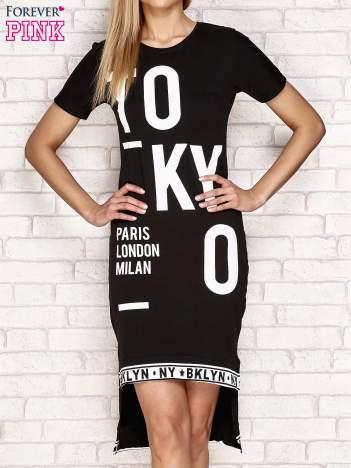 Sukienka z napisem TOKYO i dłuższym tyłem czarna
