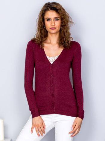 Sweter bordowy na guziki