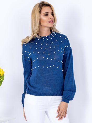 Sweter ciemnoniebieski z perełkami