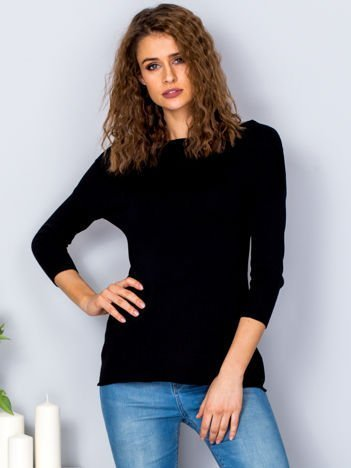 Sweter damski czarny z szerokim ściągaczem przy dekolcie