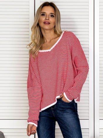 Sweter damski w paski czerwony