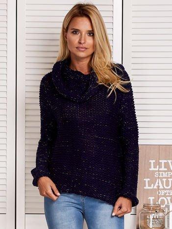 Sweter damski z błyszczącą nitką granatowy