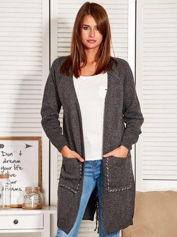 Sweter damski ze sznurowaniem na plecach ciemnoszary