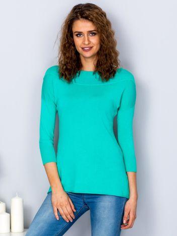 Sweter damski zielony z szerokim ściągaczem przy dekolcie