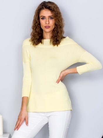 Sweter damski żółty z szerokim ściągaczem przy dekolcie