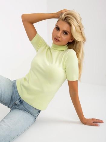 Sweter jasnozielony z krótkim rękawem i golfem