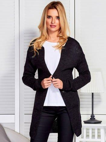 Sweter kardigan bez zapięcia z ażurowym tyłem ciemnoszary