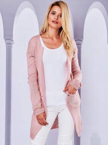 Sweter kardigan bez zapięcia z ażurowym tyłem różowy