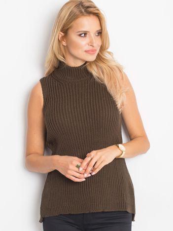 Sweter lace up khaki