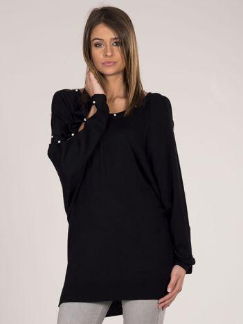 Sweter oversize z perełkami czarny