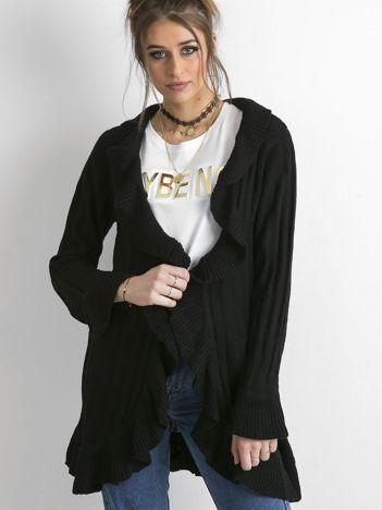 Sweter z falbanami czarny