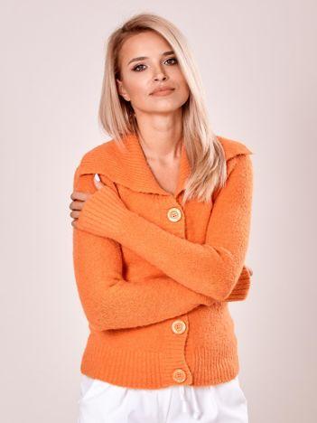 Sweter z kołnierzem damski pomarańczowy