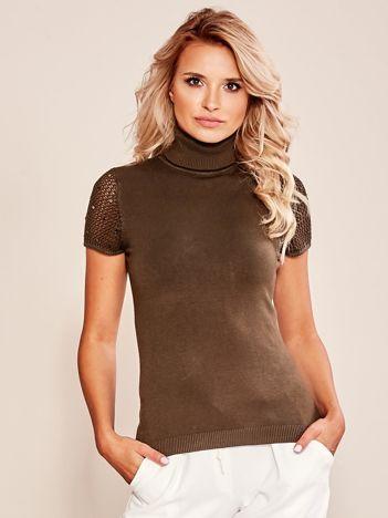 Sweter z krótkim rękawem oliwkowy