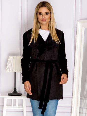 Sweter z łączonych materiałów z wiązaniem czarny