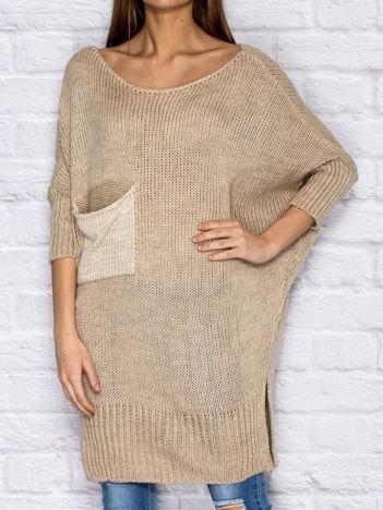 Sweter z wycięciem i wstążką ciemnobeżowy