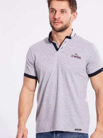 Szara bawełniana męska koszulka polo
