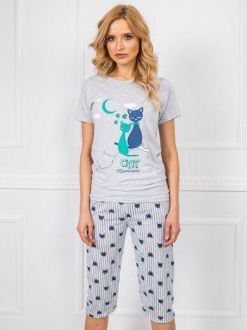 Szara bawełniana piżama damska
