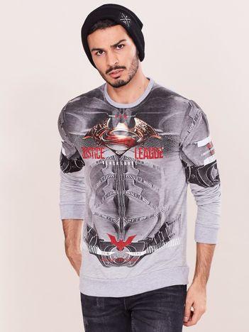 Szara bluza dresowa dla mężczyzny z nadrukiem