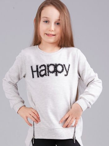 Szara bluza dziewczęca z aplikacją