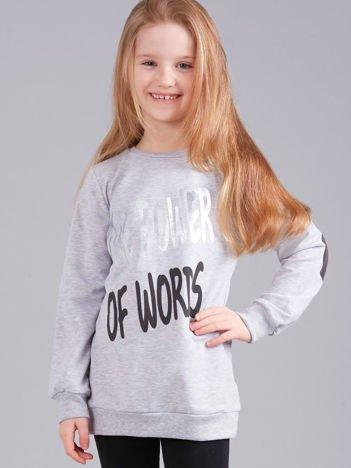 Szara bluza dziewczęca z nadrukiem i aplikacją