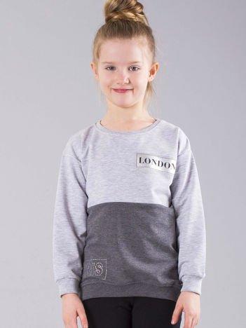 Szara bluza dziewczęca z napisami i dżetami