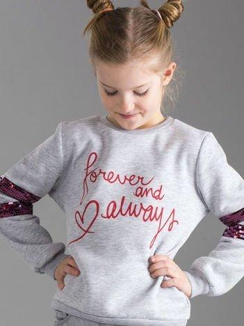 Szara bluza dziewczęca z napisem i cekinami