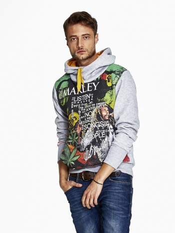 Szara bluza męska z kapturem z nadrukiem reggae