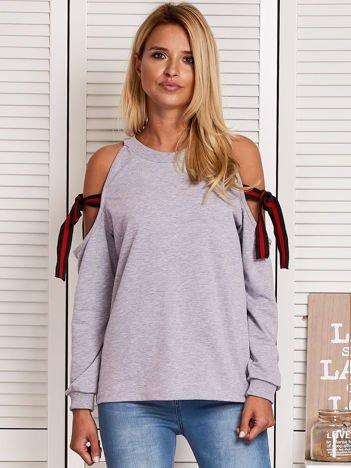 Szara bluza z kokardami na rękawach