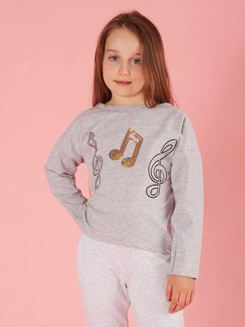 Szara bluzka dziewczęca z muzyczną aplikacją