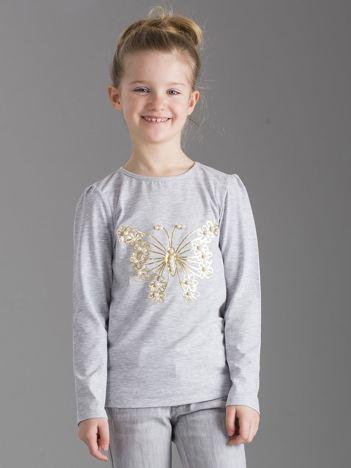 Szara bluzka dziewczęca z perełkami
