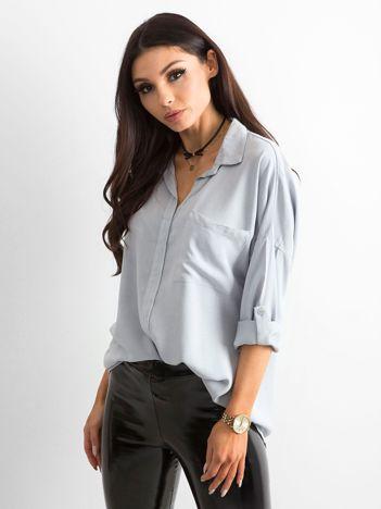 Szara bluzka oversize z kieszenią