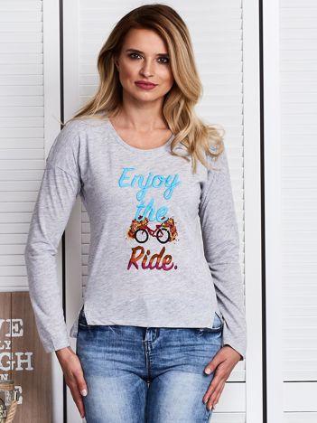 Szara bluzka z haftowanym rowerem