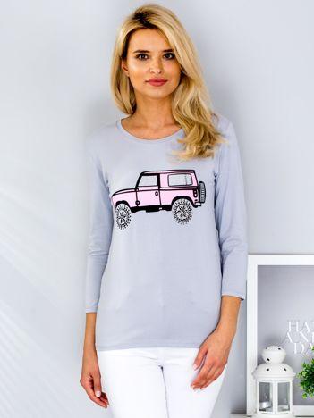Szara bluzka z samochodem