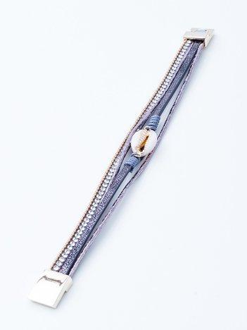 Szara bransoletka na magnez z muszelką