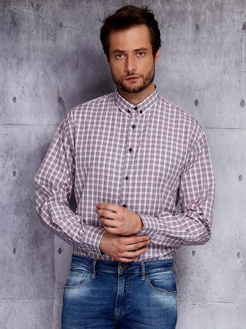 Szara koszula męska w kontrastową kratkę PLUS SIZE