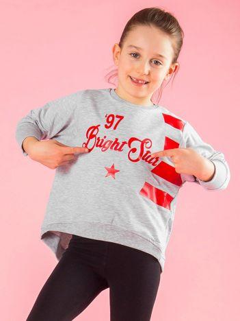 Szara krótka bluza z nadrukiem dla dziewczynki