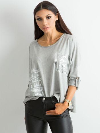 Szara luźna bluzka damska